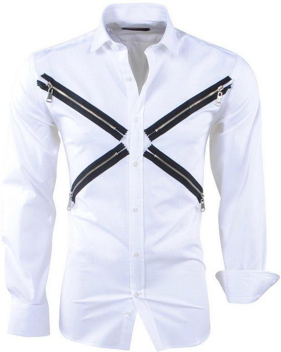 Slim Fit Heren Overhemd.Bol Com Pradz Heren Overhemd Slim Fit Ritsen Wit