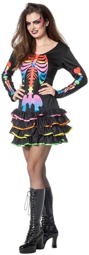 46f4a88ef3b2a2 Halloween - Neon skelet halloween jurkje voor dames 42 (XL)