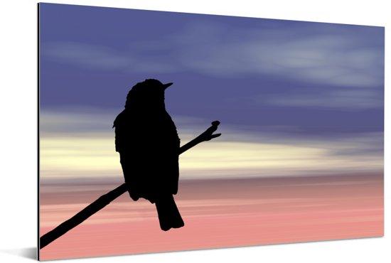 Uitzonderlijk silhouet van een grauwe vliegenvanger tijdens zonsondergang Aluminium 30x20 cm - klein - Foto print op Aluminium (metaal wanddecoratie)