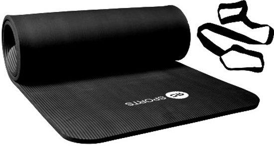 RS Sports Fitnessmat l NBR l 180 cm x 60 cm x 1,5 cm l Zwart