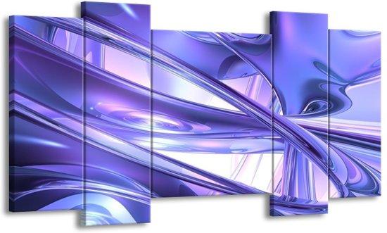 Canvas schilderij Abstract | Blauw, Wit, Paars | 120x65 5Luik