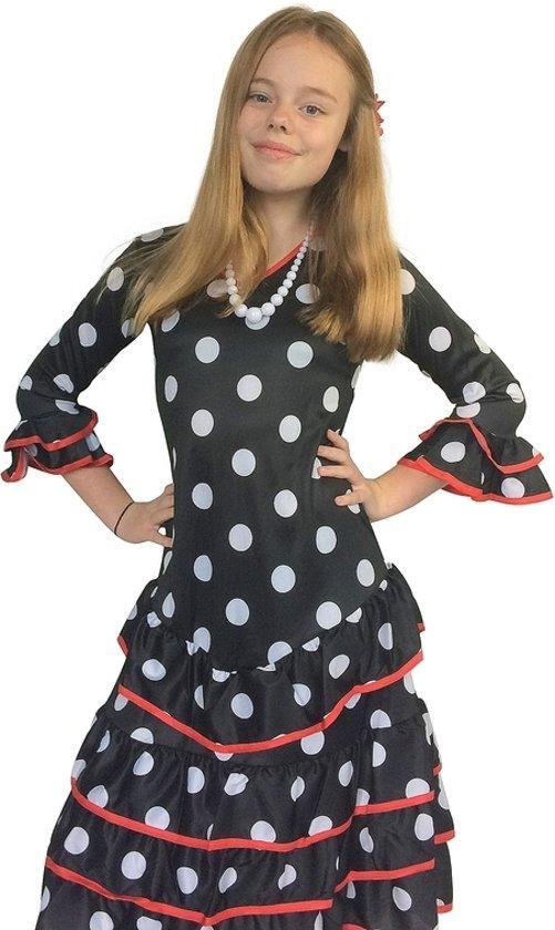 97862a55b808ba Spaanse jurk - Flamenco - Deluxe - zwart wit met rode rand - maat 140