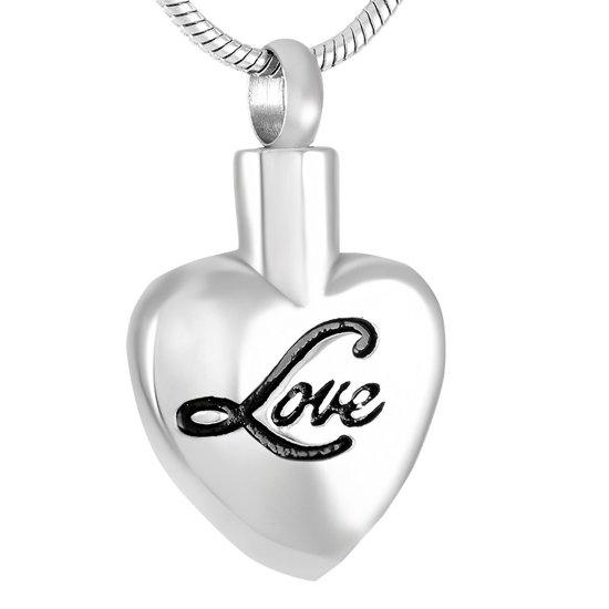 Stalen ashanger zilverkleurig hart met Love