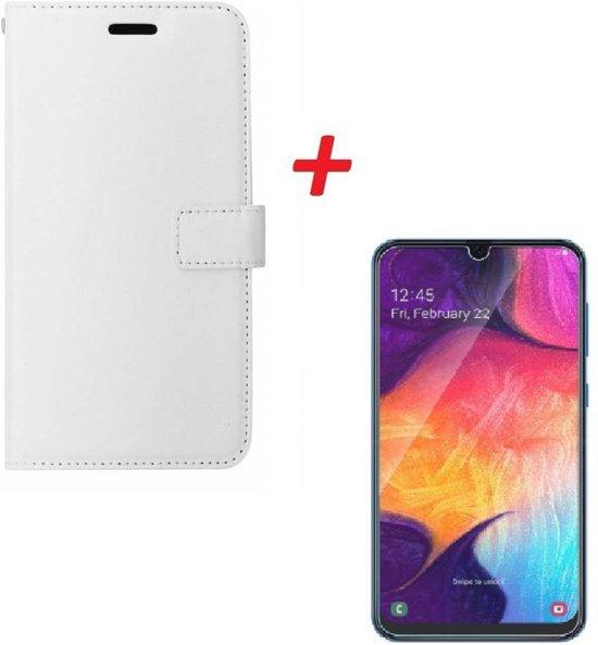Motorola G7 Play Portemonnee hoesje wit met Tempered Glas Screen protector