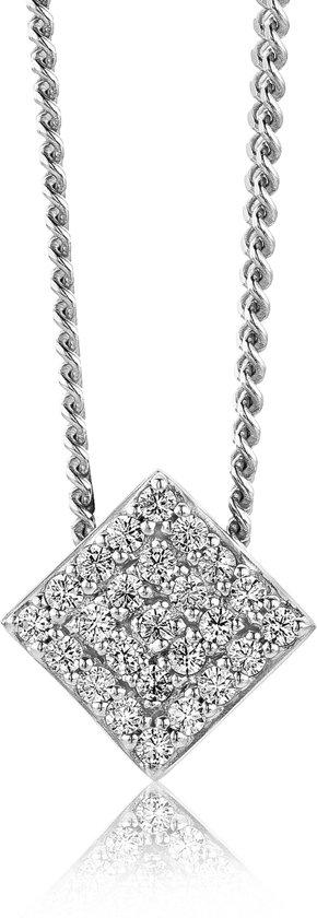 Majestine ketting - 925 Zilveren Rhodium Collier met Zirkonia ruit - Ketting 45 cm