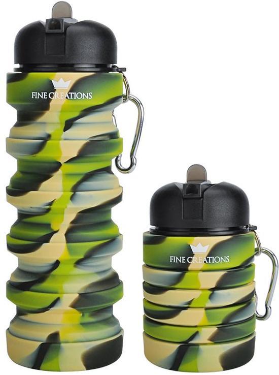 Bidon - Waterfles - Inklapbaar - 550ml - 100% BPA- en Lekvrij - Ideaal voor Sporten, Bootcamp, Fitness, CrossFit, Gym, Yoga, Fit, Kamperen, Reizen - Drinkfles - Sportbidon - Fine Creations®
