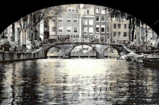 Brug over de gracht in Amsterdam, Nederland in olieverf look | modern, stad, sfeer | Foto schilderij print op Canvas (canvas wanddecoratie) | 120x80cm