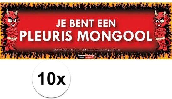 10x Sticky Devil Je Bent Een Pleuris Mongool Grappige Teksen Stickers