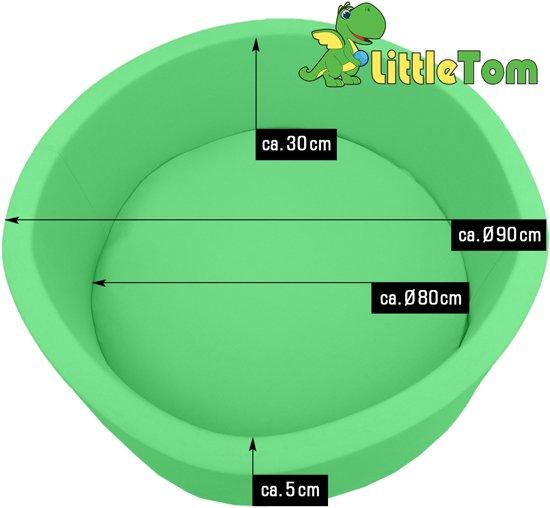 LittleTom Knuffelig Ballenbak met 350 Babyballen – Set vanaf 0 Jaar – 90 x 30 cm – Ballenbad in Lichtgroen – Ø 5,5 cm Ballen in Groen, Wit & Grijs