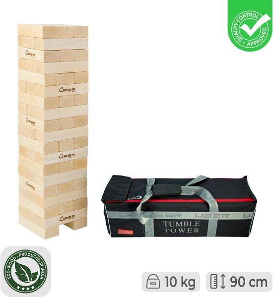 Stapelorenspel (Grenen, Stapeltorenspel, in stevige transportas, uit ECO Grenenhout, tot 90 cm hoog