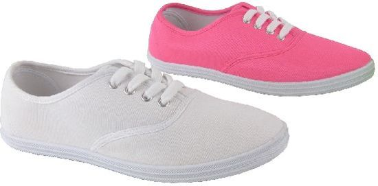 | Neon roze canvas schoen met veters maat 38
