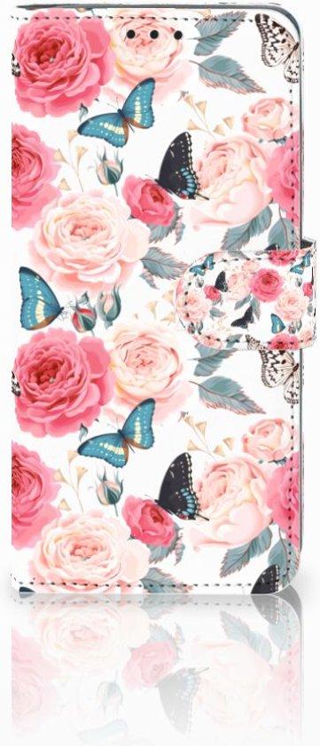 Huawei P30 Pro Uniek Boekhoesje Butterfly Roses