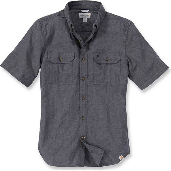 Carhartt Fort Solid Short Sleeve Black Chambray Shirt Here