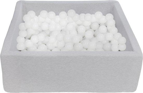 Zachte Jersey baby kinderen Ballenbak met 300 ballen, 90x90 cm - Witte