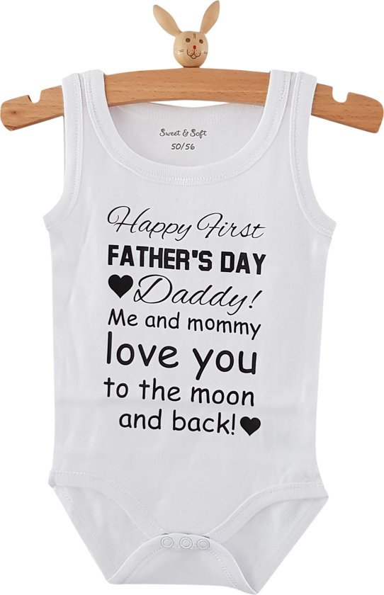Baby Rompertje Tekst Papa Eerste Vaderdag Cadeau Happy First Fathers Day Daddy Me And Mommy Love You To The Moon And Back Zonder Mouw Mouwloos