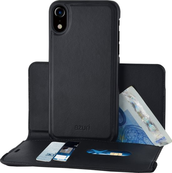 Azuri wallet case with removable magnetic cover - Zwart - voor Apple iPhone XR & Apple iPhone 11