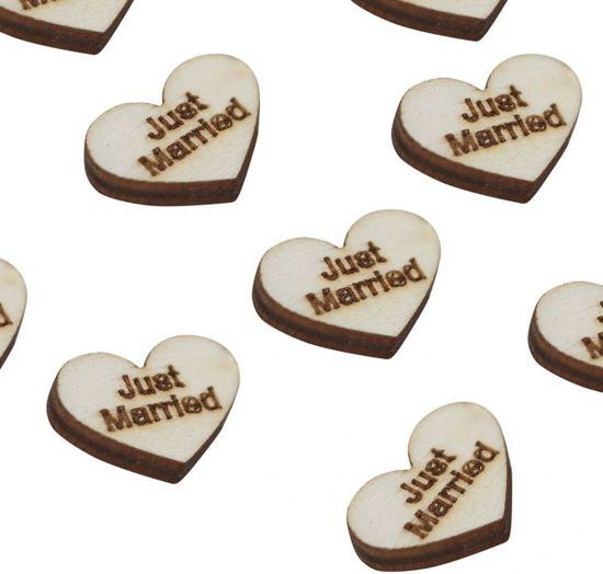 Houten tafelconfetti - Hartjes Just married (25 stuks) Valentinaa