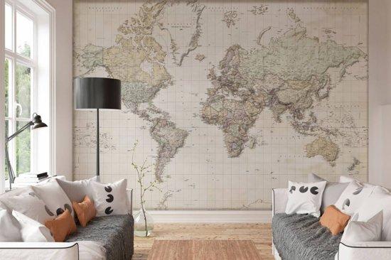 Nederlandstalige wereldkaart - Fotobehang 368 x 254 cm - Vlies