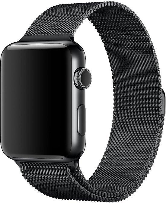 Milanees bandje geschikt voor Apple Watch 38-40mm RVS - Zwart