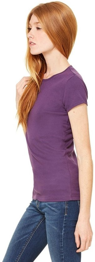 Basic t-shirt paars met ronde hals voor dames - Dameskleding shirtjes L