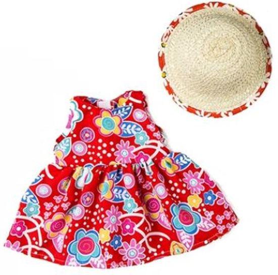 Voor de Pop   Fleurige Rode Bloemetjes Jurk Met Hoedje   Baby Born   Babypop Poppenkleertjes   Poppenkleding   43 cm   Poppen accessoires + GRATIS HIPPE ZONNEBRIL