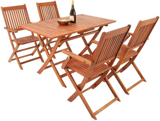 Tuinset van acaciahout - 4 stoelen en 1 tafel
