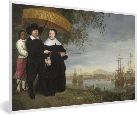 Foto in lijst - Een opperkoopman van de VOC - Schilderij van Aelbert Cuyp fotolijst wit 60x40 cm - Poster in lijst (Wanddecoratie woonkamer / slaapkamer)
