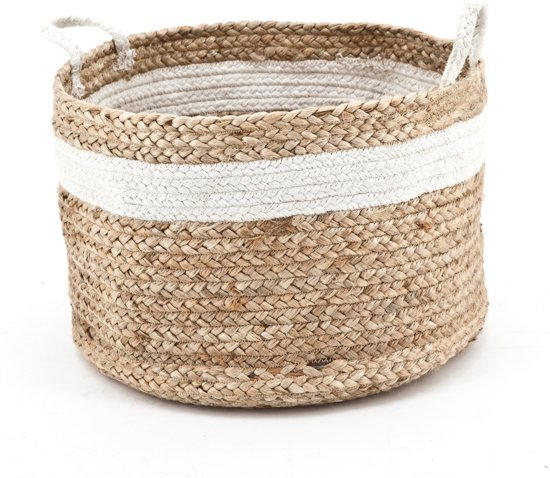 Basket Jute natural white - jute mand