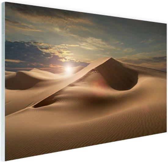 Zandduinen in een woestijn Glas 90x60 cm - Foto print op Glas (Plexiglas wanddecoratie)