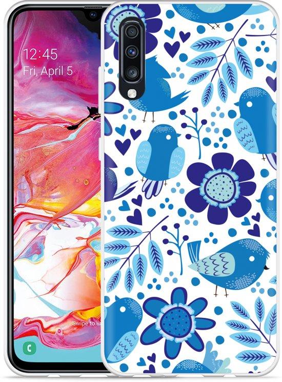 Galaxy A70 Hoesje Blue Bird and Flowers