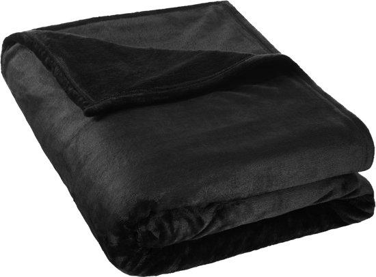 Super zachte deken zwart 220 x 240cm 400947