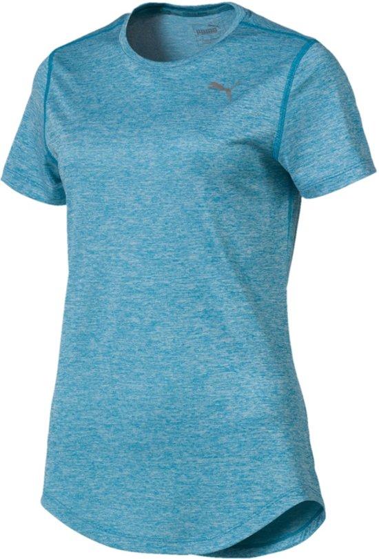 PUMA Epic Heather S/S Tee Sportshirt Dames - Caribbean Sea Heather - Maat M