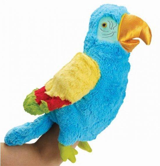 Pluche handpop papegaai 23 cm
