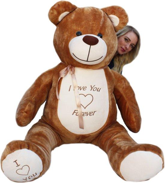 Grote bruine knuffelbeer teddybeer met i love you tekst super voor VALENTIJN