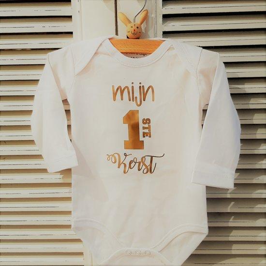 Babykleding Eerste Kerst.Baby Rompertje Mijn Eerste 1ste Kerst Lange Mouw Wit Goud Maat 62 68