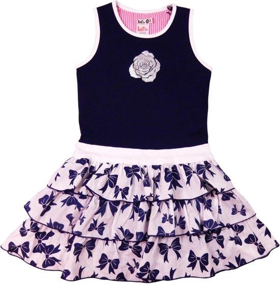 93920d7d4dd8d0 LoFff Z8105-02 Jurk Ruffled Skirt - Blauw Wit - Maat 134-140 ...
