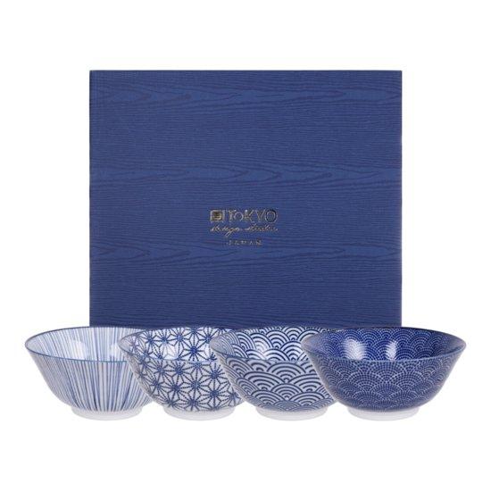 Tokyo Design Studio Nippon Blue Set van 4 Kommen Ø 15,2 cm in fraaie Geschenkdoos