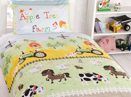1 persoons kinderdekbedovertrek boerderijdieren en trekkers