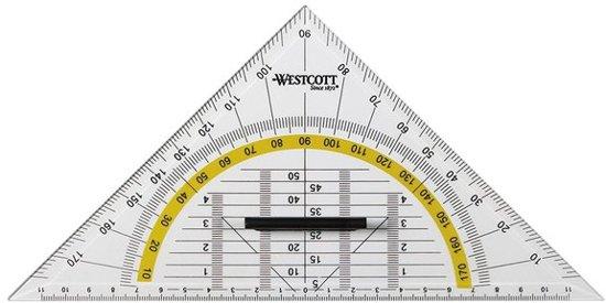 Westcott - geodriehoek - transparant - afneembare handgreep - 22cm