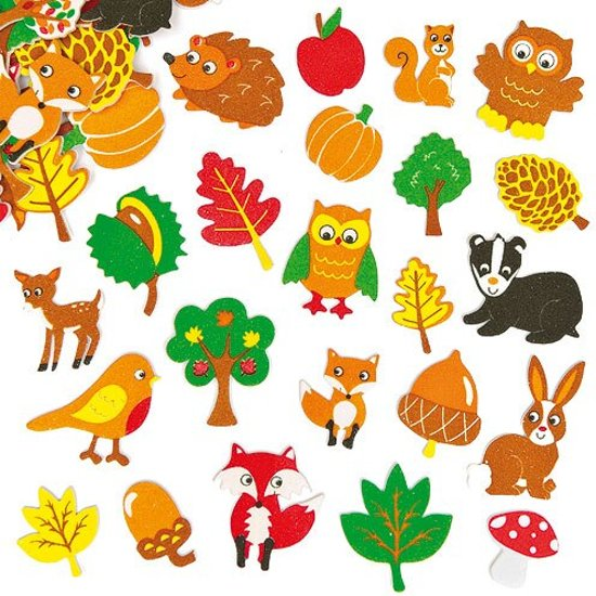 Foam stickers bosvriendjes  (100 stuks per verpakking)