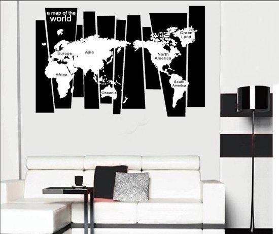 muursticker wereldkaart strak modern woonkamer kantoor slaapkamer zwart wit