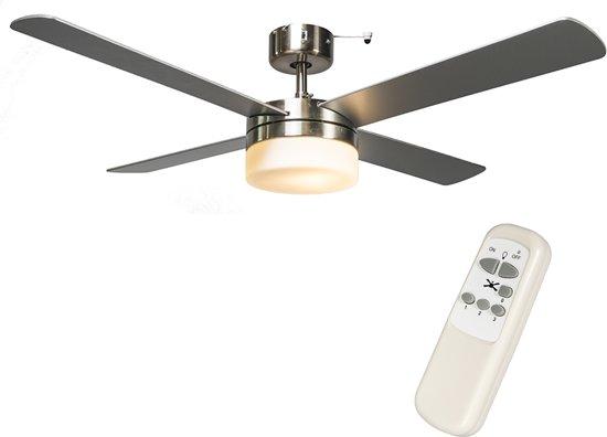 qazqa breeze 48 plafond ventilator met lamp 2 lichts grijs