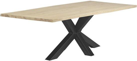Eettafel Industrieel | Matrix-poot-wit | 40mm-boomstam-240x100-whitewash
