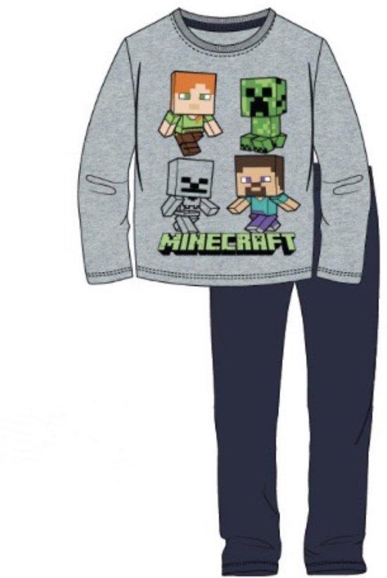 Minecraft pyjama - grijs - blauw - maat 140 / 10 jaar
