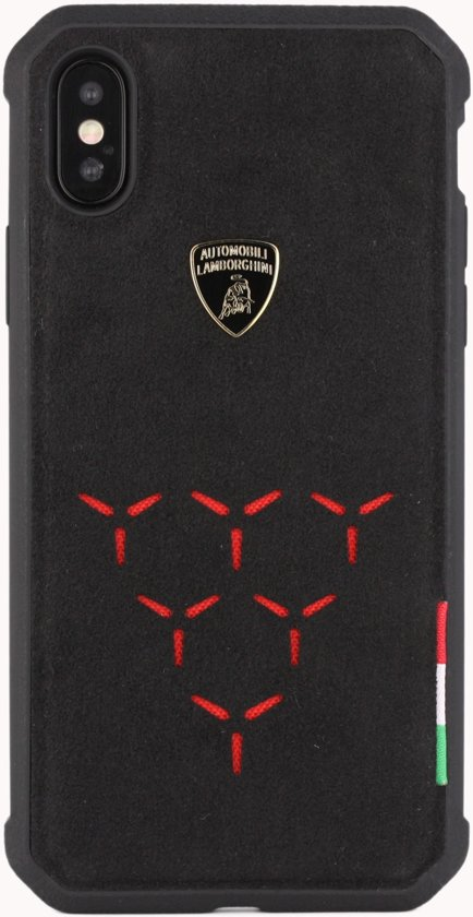 Lamborghini backcover hoesje Alcantara Apple iPhone X-Xs Rood - Genuine Leather - Echt leer