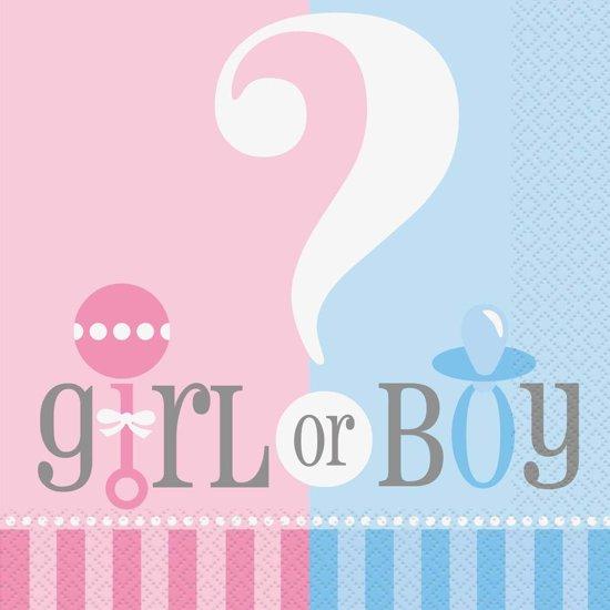 papieren servetten - gender reveal / baby shower - 20 stuks