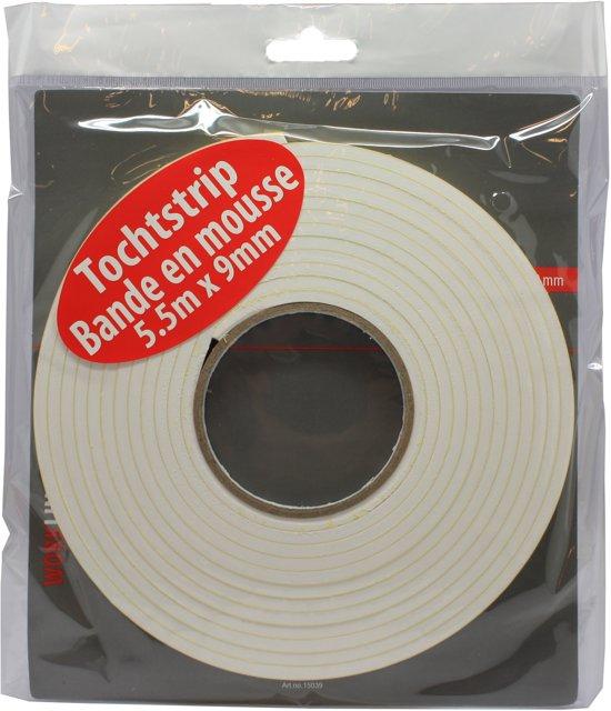 Tochtstrip / tochtband foam met kleefstrip  - 5.5 m x 9 mm