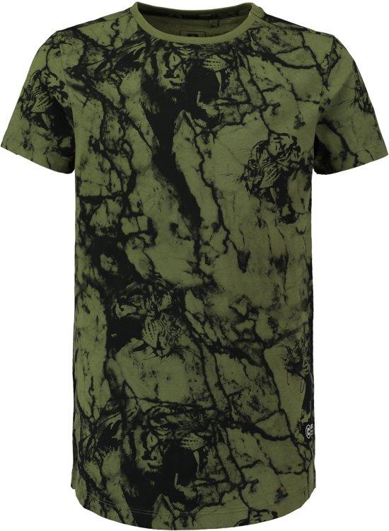 f4a7ef82c5a Coolcat Shirt Long length T-shirt met all over print - Zacht Army - 170/176