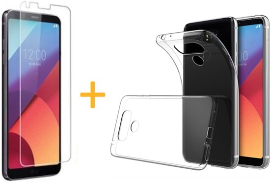 LG G6 - Siliconen Transparant TPU Gel Case Cover + Tempered Glass Screenprotector 2,5D 9H (Gehard Glas) - 360 graden protectie