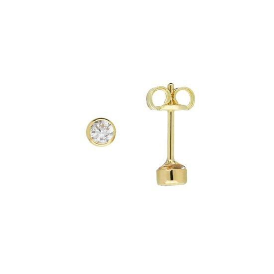 Glow oorbellen met zirkona - goud 14 kt - 3 mm